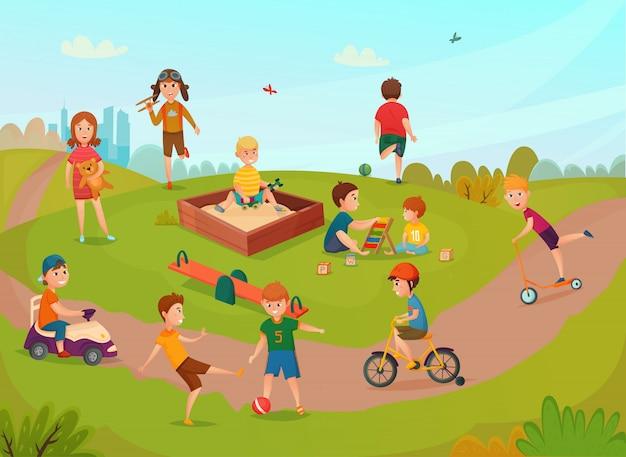 コンポジションを遊んでいる子供たち