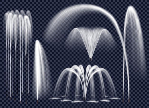 Реалистичные фонтаны на прозрачном фоне