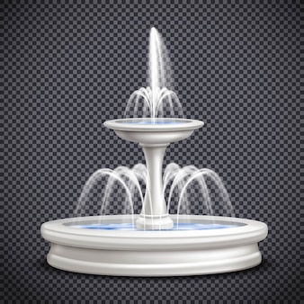 Фонтаны реалистичная изолированная прозрачная композиция