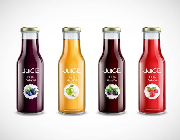 Стеклянные бутылки с коллекцией фруктовых соков