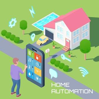 Домашняя автоматизация изометрического дизайна композиции