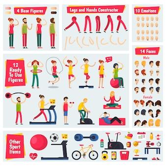 Фитнес тренинг люди конструктор персонажей