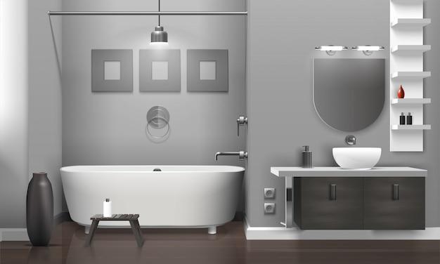 リアルなバスルームのインテリア