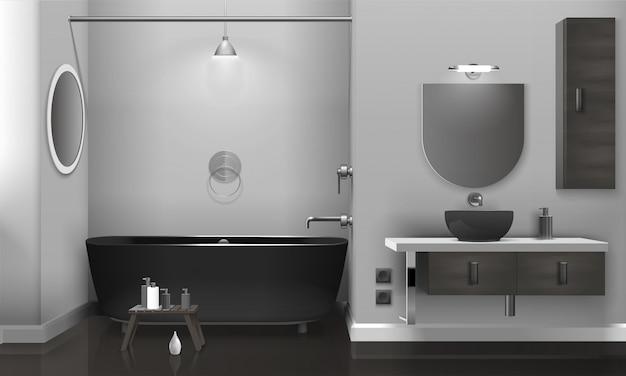 Реалистичный интерьер ванной комнаты с двумя зеркалами