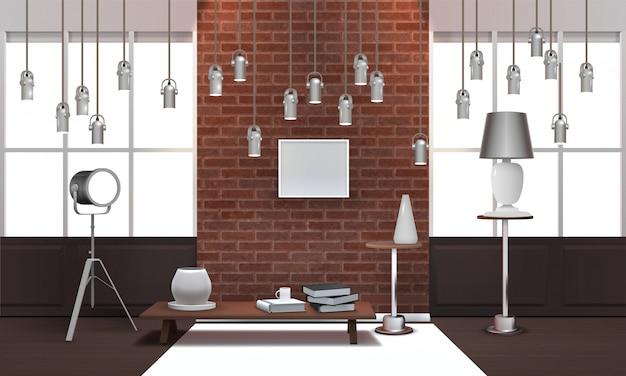 Реалистичный интерьер мансарды с подвесными светильниками