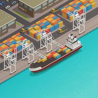 港の貨物船積みドック