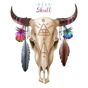 自由奔放に生きる牛の頭蓋骨