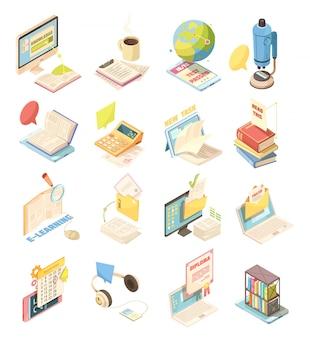 Электронное обучение набор изометрических иконок
