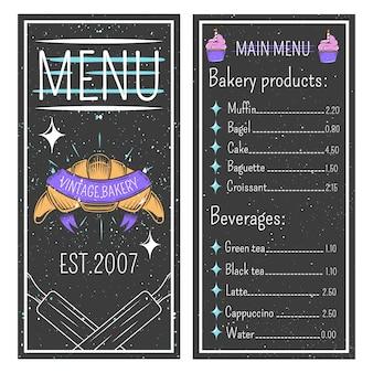 Винтажное меню пекарни