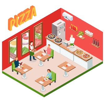 Изометрические пиццерия фон