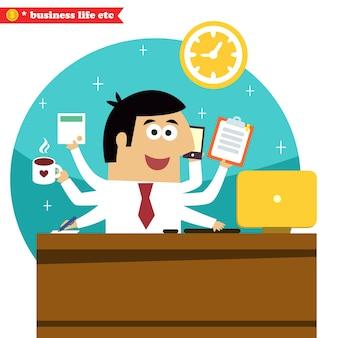ビジネスライフ。コーヒーテーブルとコンピュータのベクトル図ですべての取引のマルチタスクと多目的ビジネスマン