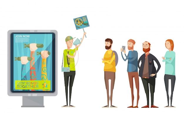 Концепция дизайна антивоенной пропаганды с молодым человеком, держащим плакат и наблюдающим и фотографирующим мультфильм