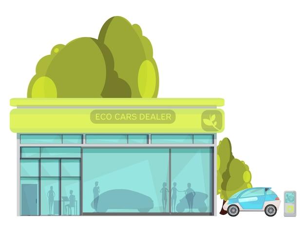 白い背景の上の平らな環境に優しい電気自動車ディーラーセンター
