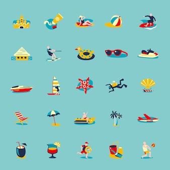 Летний пляж ретро иконки фон набор
