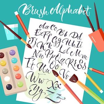 手描きのアルファベットと紙のシート
