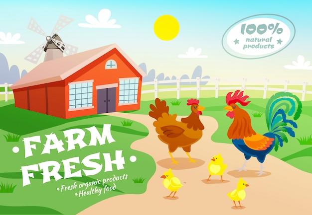 養鶏場の広告の背景