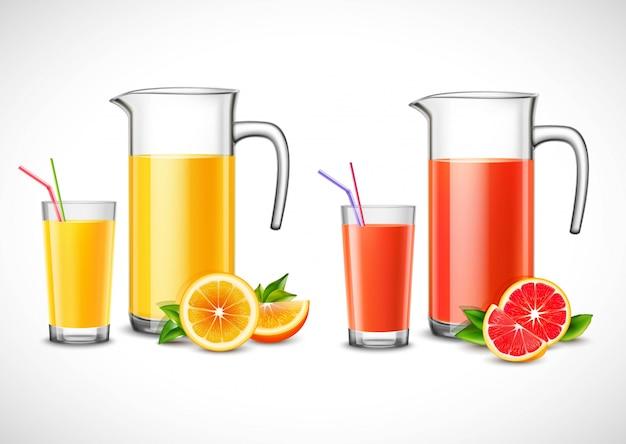 柑橘系のジュースのイラスト付き水差し