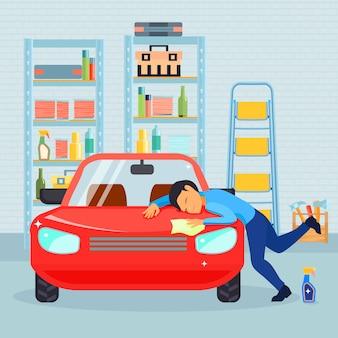色付きの平らな男性が男と彼の車の組成が大好きでガレージで彼の車を洗う