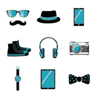 ヒップスターアイテムメガネのコレクション弓口ひげの靴と帽子ベクトル図