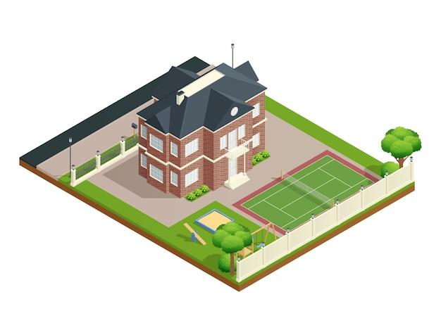 裏庭の芝生の子供の遊び場やテニスコートと郊外の家のアイソメ図
