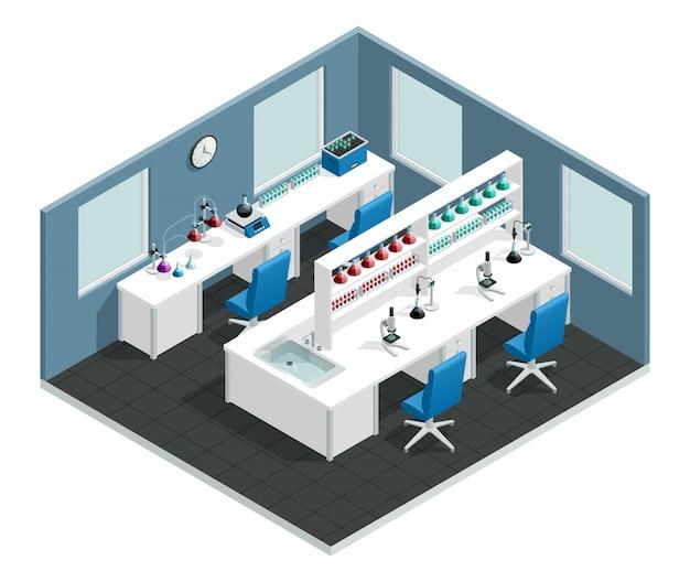実験を行うための机と化学試薬の入ったフラスコを備えた科学実験室インテリア
