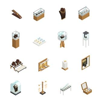 Набор ювелирных декоративных иконок с элементами магазинных прилавков, витрин, витрин, постамента, манекен