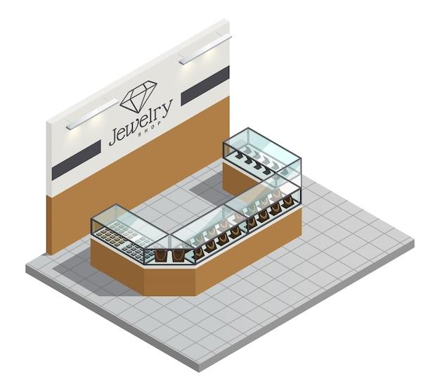 Салон ювелирного магазина сверху с женскими дорогими золотыми украшениями в прозрачной стойке без продавца и посетителей