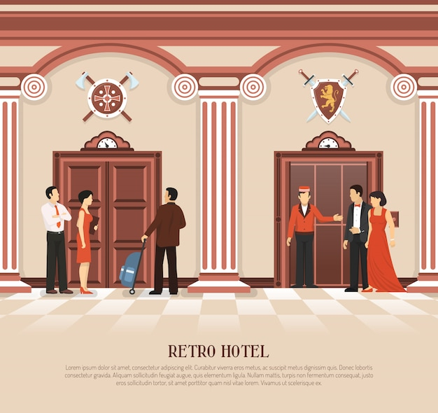 Ретро отель лифт фон