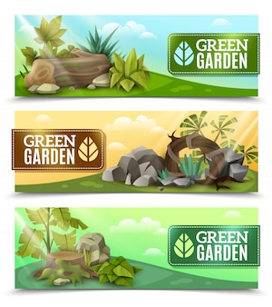 Горизонтальный набор баннеров для ландшафтного дизайна сада