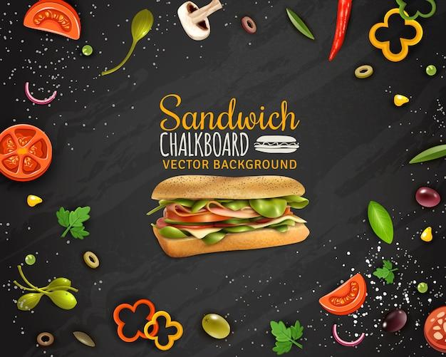 新鮮なサンドイッチ黒板背景広告ポスター