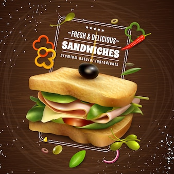 Свежий сэндвич деревянный фон рекламный плакат