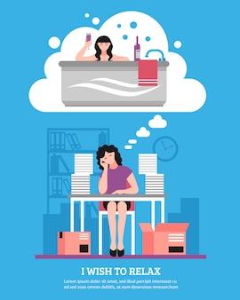 Женщина желает расслабиться плоской иллюстрации