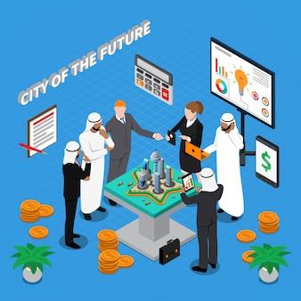 Арабский город будущего изометрическая композиция