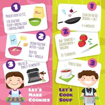 フラット漫画スタイルのティーンエイジャーの文字と料理のヒントベクトルイラストカード入り垂直バナーを調理する子供たち