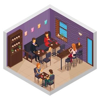 Кафе интерьер ресторана пиццерия бистро столовая изометрической крытый композиция со шкафом и посетителей, сидящих за столами векторная иллюстрация