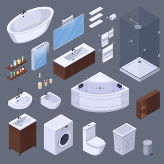 Изометрические элементы интерьера ванной комнаты с предметами мебели и сантехники изолированные изображения на сером фоне векторных иллюстраций