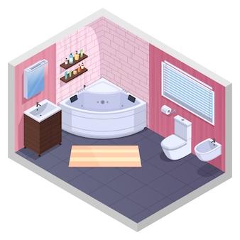 角型浴槽のゲルとシャンプーのボトルの洗面器と便器のベクトル図と棚付きバスルーム等尺性インテリア