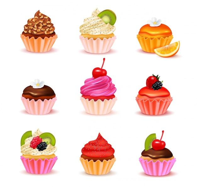 白い背景ベクトルイラスト上に分離されて様々な詰め合わせ品揃えセットで明るい現実的なカップケーキ
