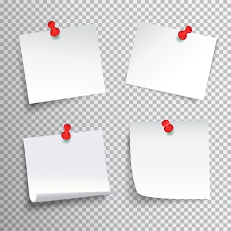 Пустой набор белой бумаги возлагали с красными защелки на прозрачном фоне реалистичной изолированных векторная иллюстрация