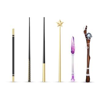 白い背景のベクトル図に分離された異なるサイズとデザインの現実的なセットのカラフルな魔法の杖