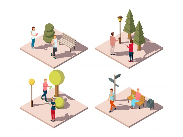 Гаджеты люди изометрической композиции с посетителями городского парка читают текстовые сообщения, слушая музыку на ходу векторная иллюстрация