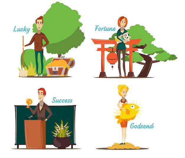 Композиции из счастливых ситуаций, состоящие из четырех отдельных изображений с плоским человеческим характером и соответствующими открытыми пейзажами, векторная иллюстрация