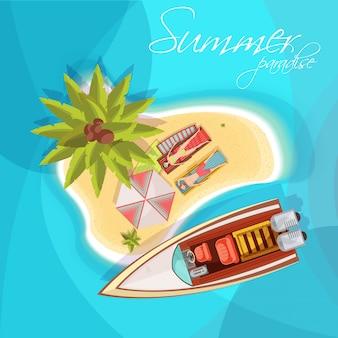 青い海の背景のベクトル図にモーターボートの傘ヤシの木と島組成トップビューで日光浴