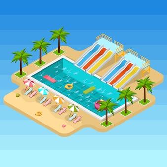 Изометрические аквапарк композиция