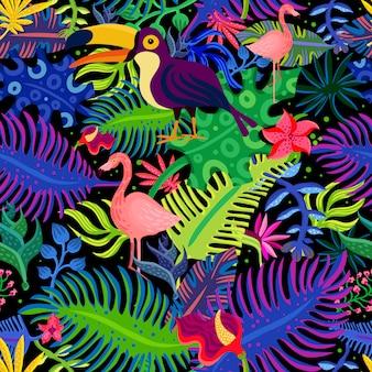 熱帯のエキゾチックな色のシームレスパターン