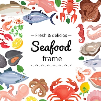 Фон рамки морских продуктов