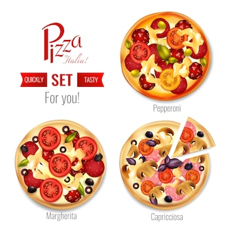 品揃えセットのピザ