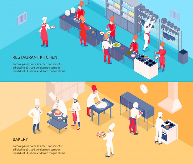 レストランのキッチンと分離された青と黄色の背景にパン屋さんとプロの調理等尺性バナー