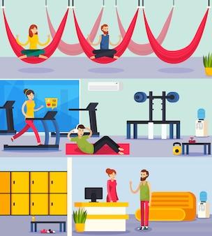 Фитнес тренинг люди ортогональная композиция