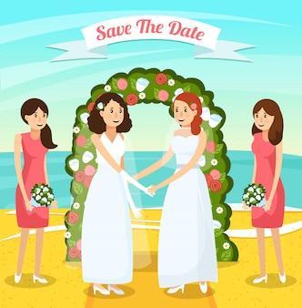 色付きの結婚式の人々直交組成